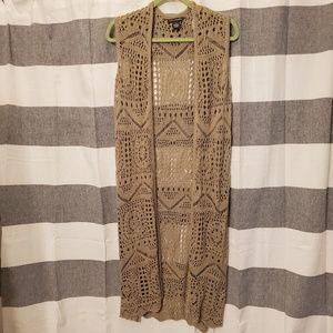 Lace sweater duster vest